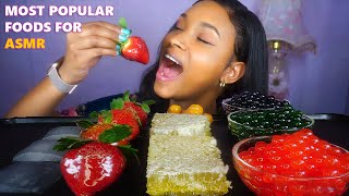 MOST POPULAR FOOD FOR ASMR PART 2  * ALOE VERA, TANGHULU, HONEYCOMB, POPPING BOBA  * NO TALKING * 먹방