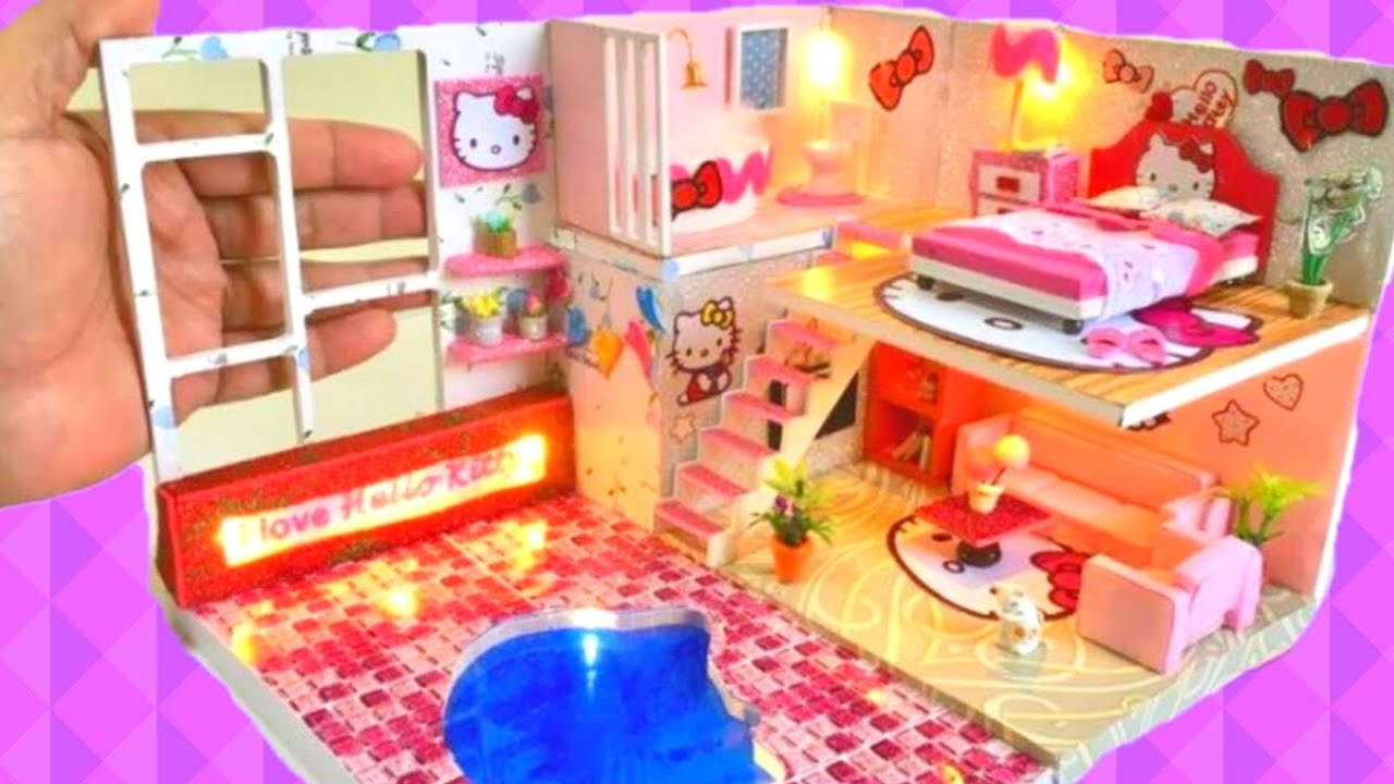 3 DIY Miniature Hello Kitty Dollhouse Rooms ~Bedroom, Toilet, Bathroom, Living  Room, Swimming Pool