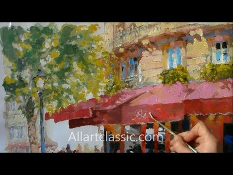 French Cafe Original Oil Painting Paris Bistro| Allartclassic