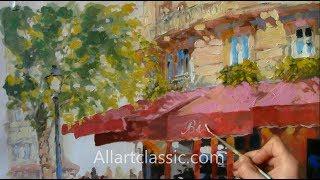 French Cafe Original Oil Painting Paris Bistro Allartclassic