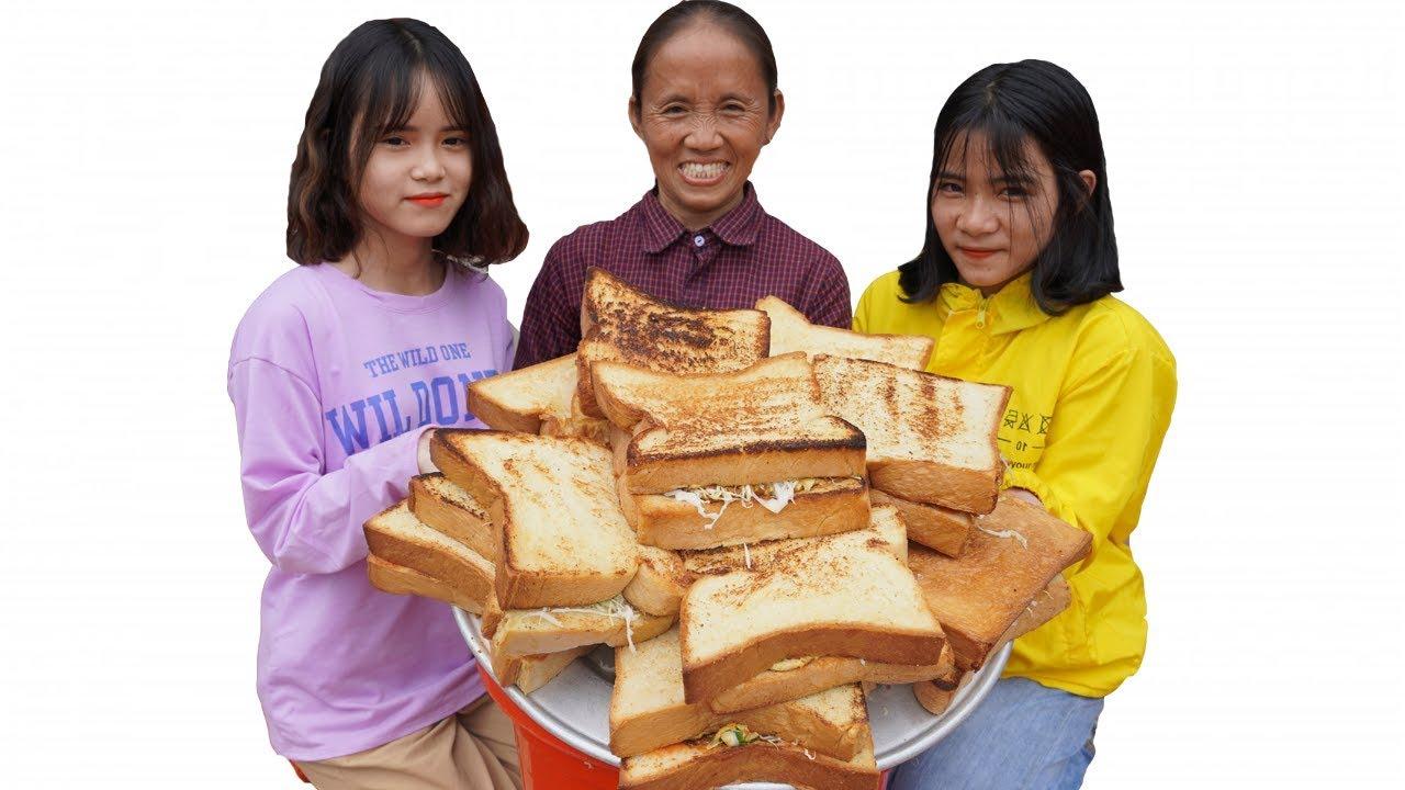 Bà Tân Vlog - Làm Bánh Sandwich Kẹp Trứng Siêu To Khổng Lồ | Giant Sandwich