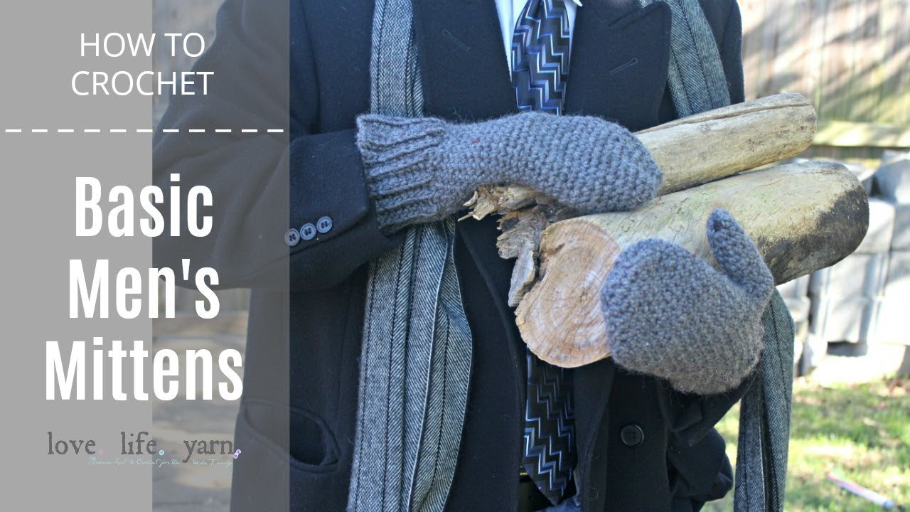 How to Crochet: Basic Men's Mittens - YouTube