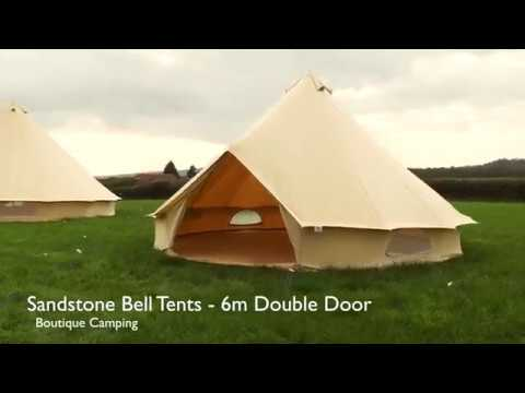 6m Sandstone Double Door Bell Tent by Boutique Camping