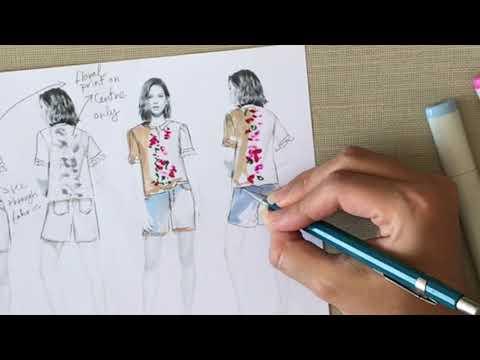 Fashion sketch Tutorial: Design development on a Fashion model template thumbnail