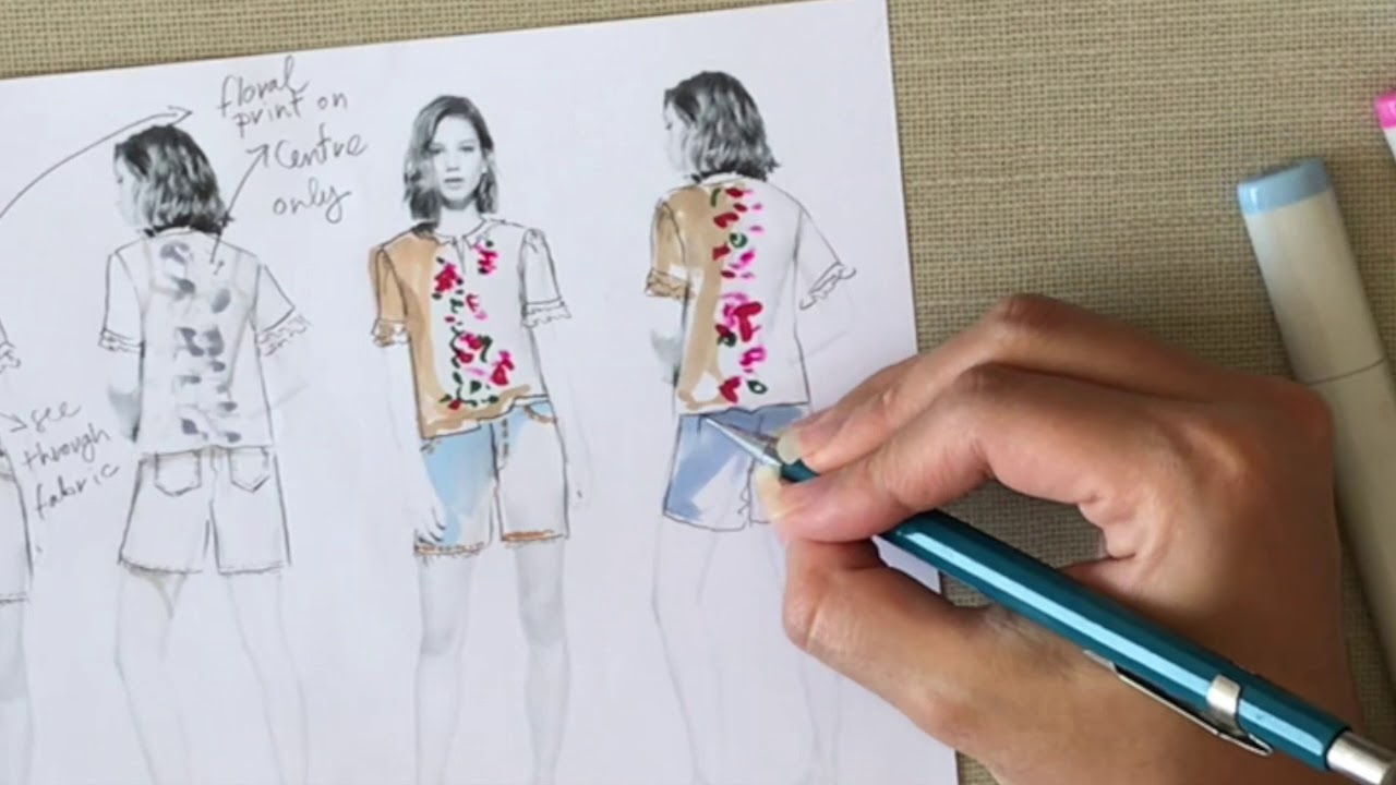 Fashion Sketch Tutorial Design Development On A Fashion Model Template Youtube