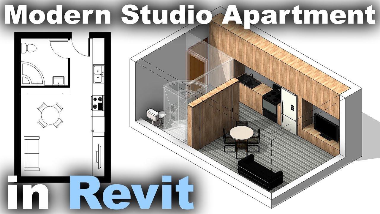 Modern Studio Apartment in Revit Tutorial - video CADinfo