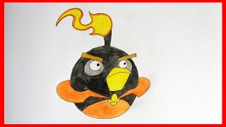 How to draw Firebomb from Angry Birds Space