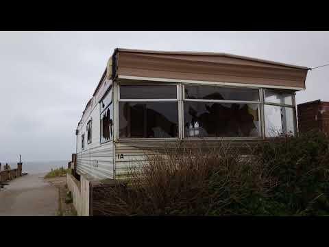Abandoned beach bank caravan park