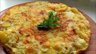 Испанская  Тортилья де пататас / вкусная катофельная омлет - запеканка на сковороде