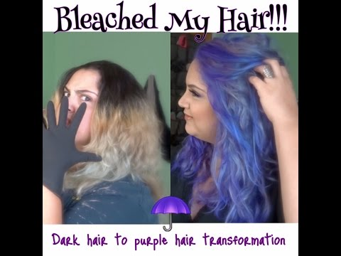Bleaching dark hair to blonde to color Purple | Hair Coloring Tutorial