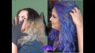 Bleaching dark hair to blonde to color Purple | Hair Coloring Tutorial