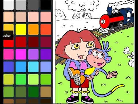 Coloring Book Dora The Explorer Game Boots And Locomotive Page Speedcoloring