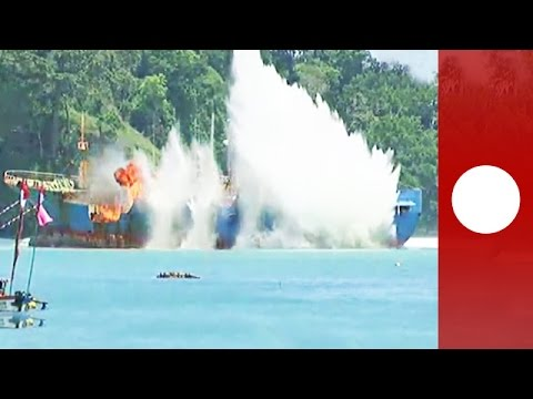 "Indonesia explodes ""Viking"" ship for illegal fishing"