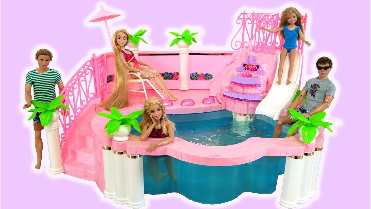 Barbie Doll Pink Swimmung Pool Boneca Barbie Piscina Rosa Boneka Barbie Kolam Renang Merah Muda Youtube
