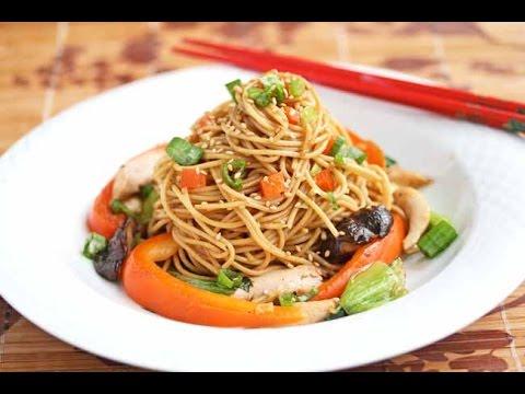 рецепт рисовая лапша с курицей и овощами с фото