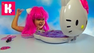 Хеллоу Китти набор косметики и парик распаковка косметички Hello Kitty makeup kit unpacking(Распаковка большой косметички для девочек с аксессуарами для макияжа, примеряем парик Хэллоу Китти и Катя..., 2015-11-27T21:32:31.000Z)