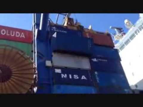 Caída de contenedor en el Puerto de Valencia
