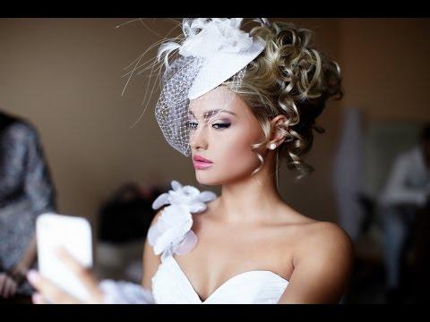 Прически на средние волосы для невесты с фатой фото