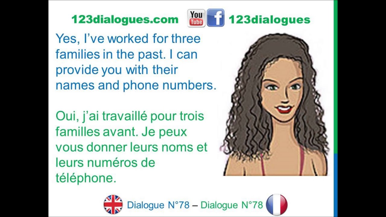 Dialogue 78 English French Anglais Français Job Interview Babysitter Entretien D Embauche