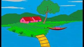 MS Paint Tutorial | MS Paint Scenery Drawing | MS Paint Landscape Art | Ms Paint for Kids | ComeTube