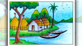 Village Drawing For Kids Drawing Art Ideas