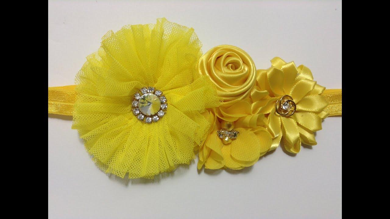 Tiara de flores de list n y tela video no 294 youtube - Material para hacer diademas ...