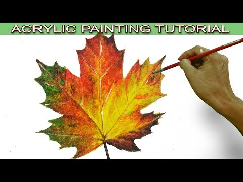 Acrylic Painting Tutorial on How to Paint an Autumn Maple Leaf in Easy and Basic by JM Lisondra