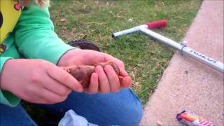 Crazy Girl Does Poop on a Stick