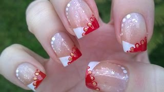 Gambar cover Chevron CHRISTMAS FRENCH MANICURE Tutorial  - DIY Easy Nail Art Designs For Holidays!