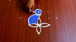 Deepavali Special Peacock Lotus Flower Rangoli Design   5x1 Dots Kolam Design   Peacock Muggulu  