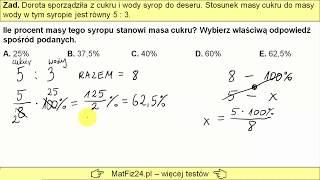 Egzamin Ósmoklasisty 2019 - Zadanie 6. Procenty i stosunek liczb   MatFiz24.PL