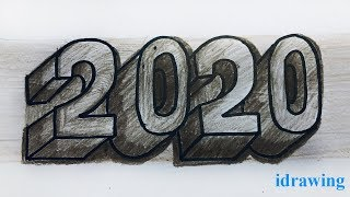 How to drawing number 2020 with stone texture Art drawing