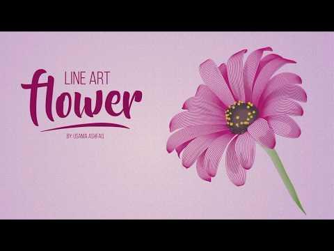 Line Art Flower - Vector Illustration Process