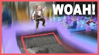 😲Baby gets MAJOR AIR at Trampoline Park!