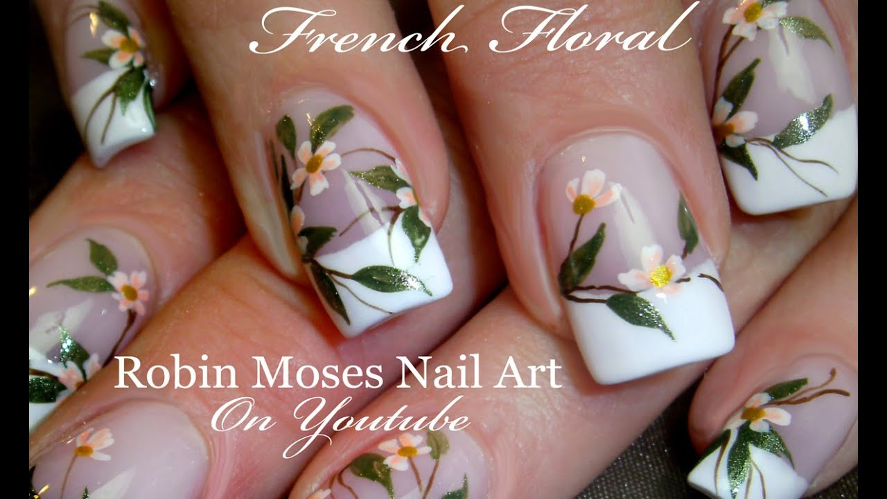 DIY White flower Nails | Wedding French Tip Nail Art Design Tutorial ...