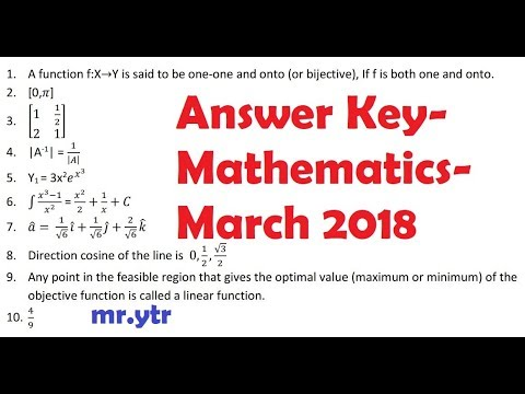 Maths Answer Key - March 2018 - All parts