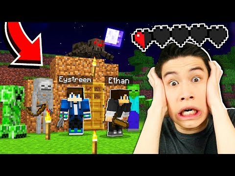 Surviving Our First Night in Minecraft! (EP1)