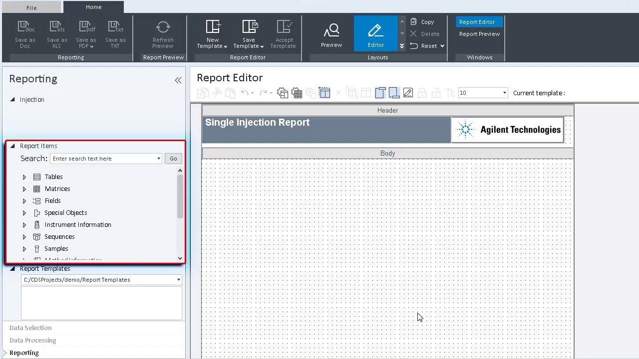 How to create a report template in OpenLab CDS