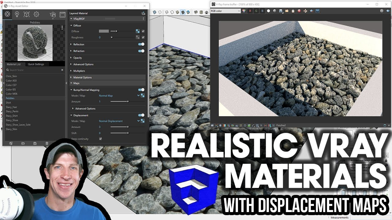 REALISTIC VRAY MATERIALS with Displacement and Normal Maps - Vray