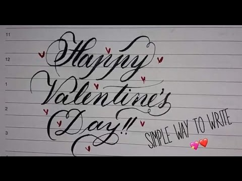 Happy Valentines Day Simple Calligraphy Youtube