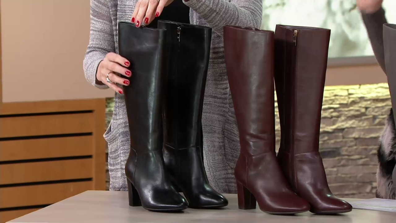 63726b58a288dd H by Halston Leather Tall Shaft Heeled Boots - Beverly on QVC - YouTube