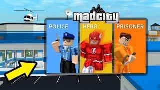 PRISONER vs. POLICEMAN vs. SUPERHERO-this game destroys the Jailbreak! (Roblox Mad City)