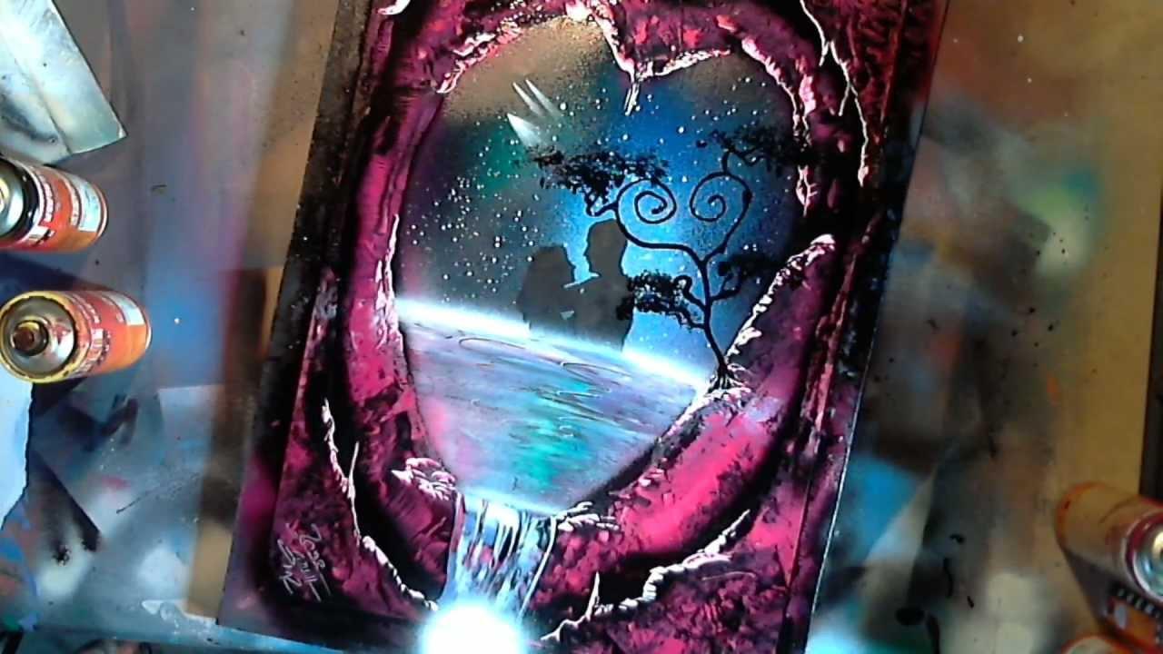my valentine spray paint art by ren schell youtube. Black Bedroom Furniture Sets. Home Design Ideas