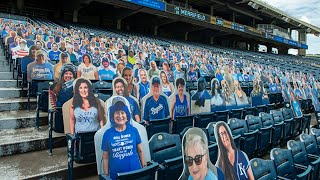 The kansas city royals installed hard plastic cutouts of fans at kauffman stadium before team's first home game this friday, july 31, 2020. ga...
