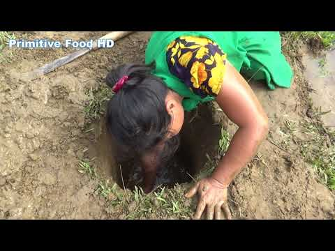 Survival skills: Primitive Life skills Catching Big Fish From Deep Hole & Cooking eating delicious