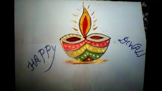 How to draw & paint a beautiful diya