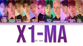 X1 (엑스원) - 'X1-MA (_지마) (X1 Ver.)' (Color Coded Lyrics Eng/Rom/Han/가사)