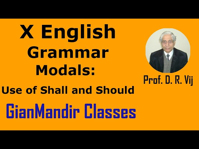 X English | Grammar | Modals: Use of Shall and Should by Nandini Ma'am