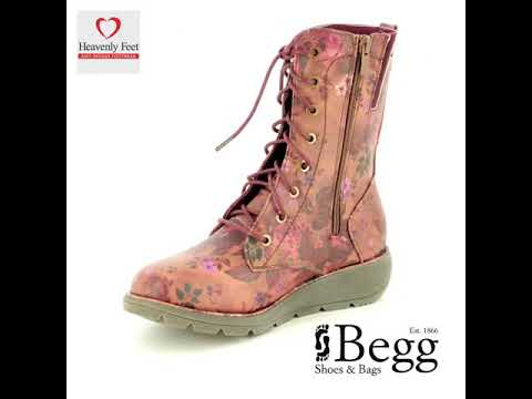 78a30c66 Heavenly Feet Walker 2 8516-81 Berry floral ankle boots - YouTube