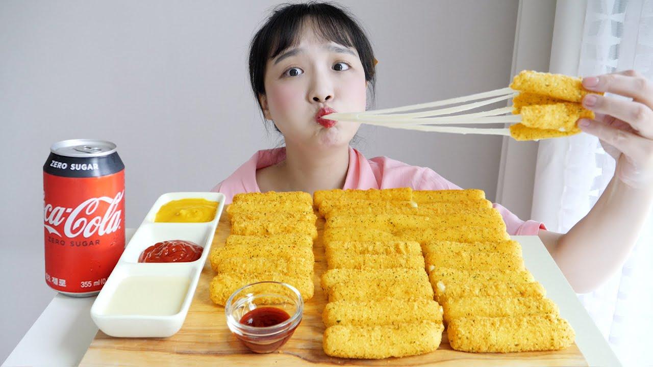롯데리아 치즈스틱 먹방⭐소원을 이룬 치즈의 날 REALSOUND MUKBANG | Cheese stick :D